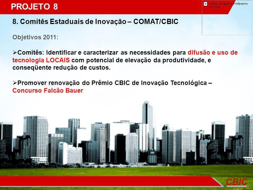 PROJETO 8 8. Comitês Estaduais de Inovação – COMAT/CBIC Objetivos 2011: Comitês: Identificar e caracterizar as necessidades para difusão e uso de tecn