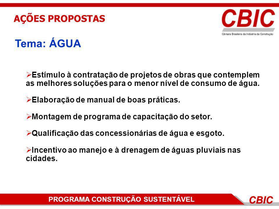 PROGRAMA DE CONSTRUÇÃO SUSTENTÁVELPROGRAMA CONSTRUÇÃO SUSTENTÁVEL AÇÕES PROPOSTAS Estímulo à contratação de projetos de obras que contemplem as melhor