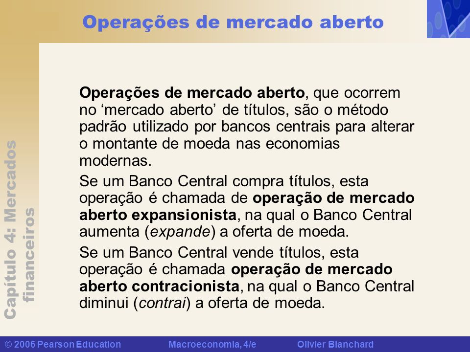 Capítulo 4: Mercados financeiros © 2006 Pearson Education Macroeconomia, 4/e Olivier Blanchard Operações de mercado aberto Operações de mercado aberto