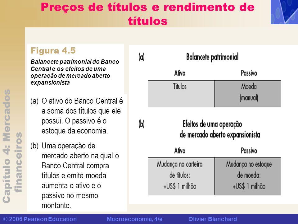 Capítulo 4: Mercados financeiros © 2006 Pearson Education Macroeconomia, 4/e Olivier Blanchard Preços de títulos e rendimento de títulos Balancete pat