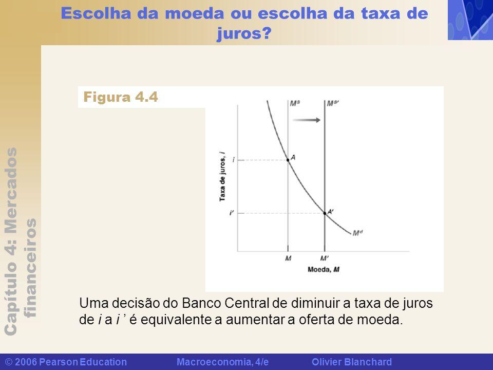 Capítulo 4: Mercados financeiros © 2006 Pearson Education Macroeconomia, 4/e Olivier Blanchard Escolha da moeda ou escolha da taxa de juros? Uma decis