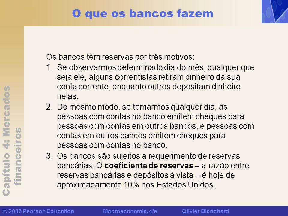 Capítulo 4: Mercados financeiros © 2006 Pearson Education Macroeconomia, 4/e Olivier Blanchard O que os bancos fazem Os bancos têm reservas por três m
