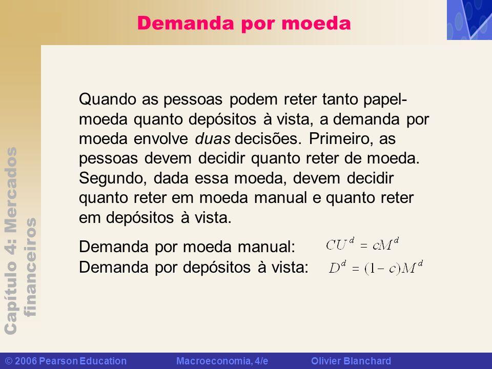 Capítulo 4: Mercados financeiros © 2006 Pearson Education Macroeconomia, 4/e Olivier Blanchard Demanda por moeda Demanda por moeda manual: Demanda por