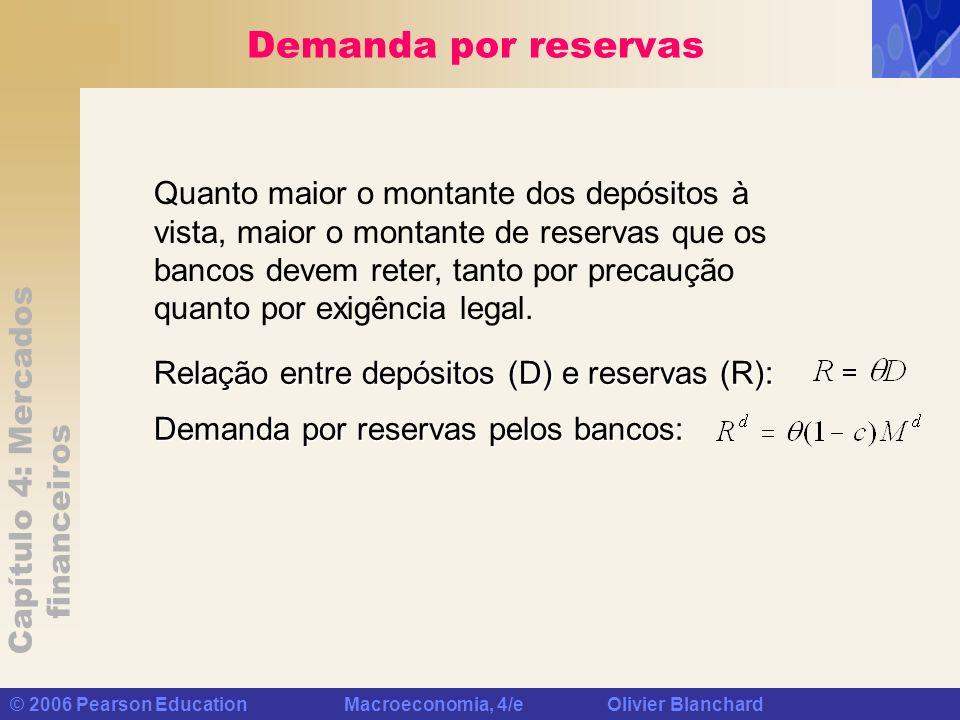 Capítulo 4: Mercados financeiros © 2006 Pearson Education Macroeconomia, 4/e Olivier Blanchard Demanda por reservas Relação entre depósitos (D) e rese
