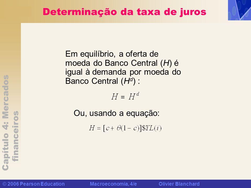 Capítulo 4: Mercados financeiros © 2006 Pearson Education Macroeconomia, 4/e Olivier Blanchard Determinação da taxa de juros Em equilíbrio, a oferta d