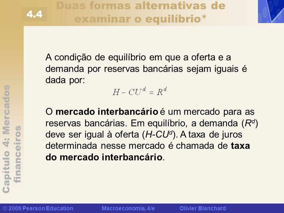 Capítulo 4: Mercados financeiros © 2006 Pearson Education Macroeconomia, 4/e Olivier Blanchard Duas formas alternativas de examinar o equilíbrio* A co