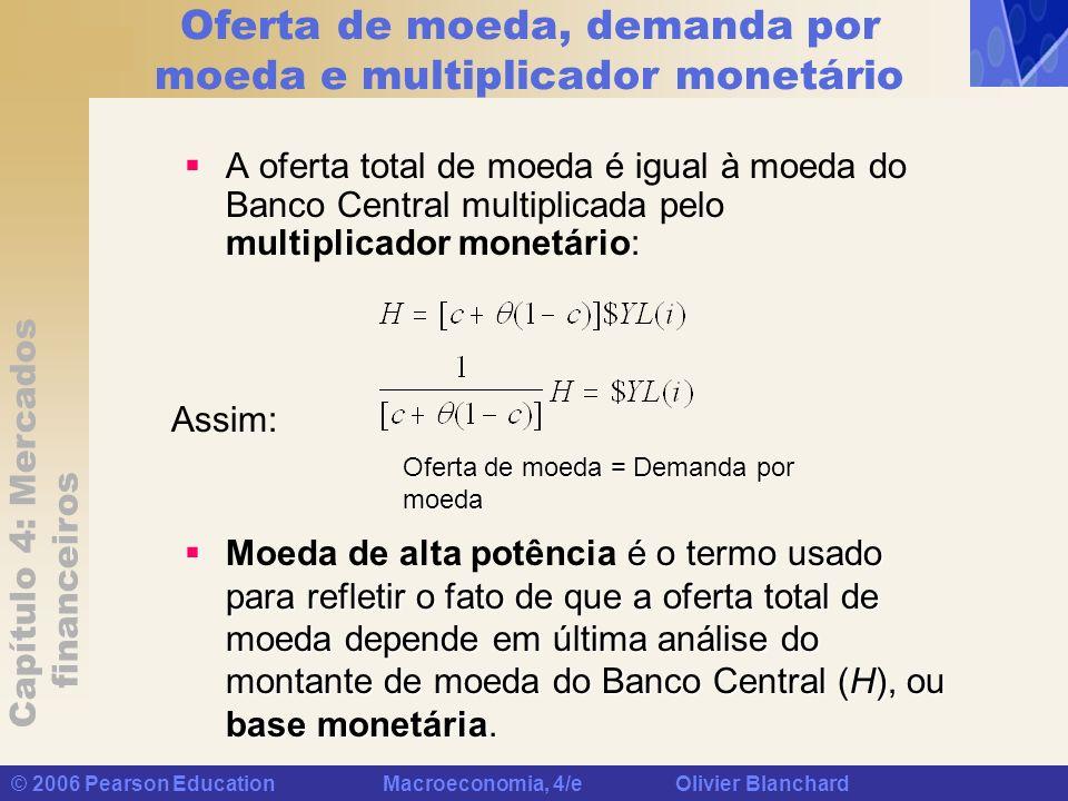 Capítulo 4: Mercados financeiros © 2006 Pearson Education Macroeconomia, 4/e Olivier Blanchard Oferta de moeda, demanda por moeda e multiplicador mone
