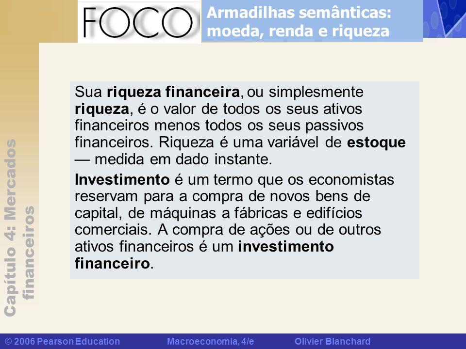 Capítulo 4: Mercados financeiros © 2006 Pearson Education Macroeconomia, 4/e Olivier Blanchard Sua riqueza financeira, ou simplesmente riqueza, é o va