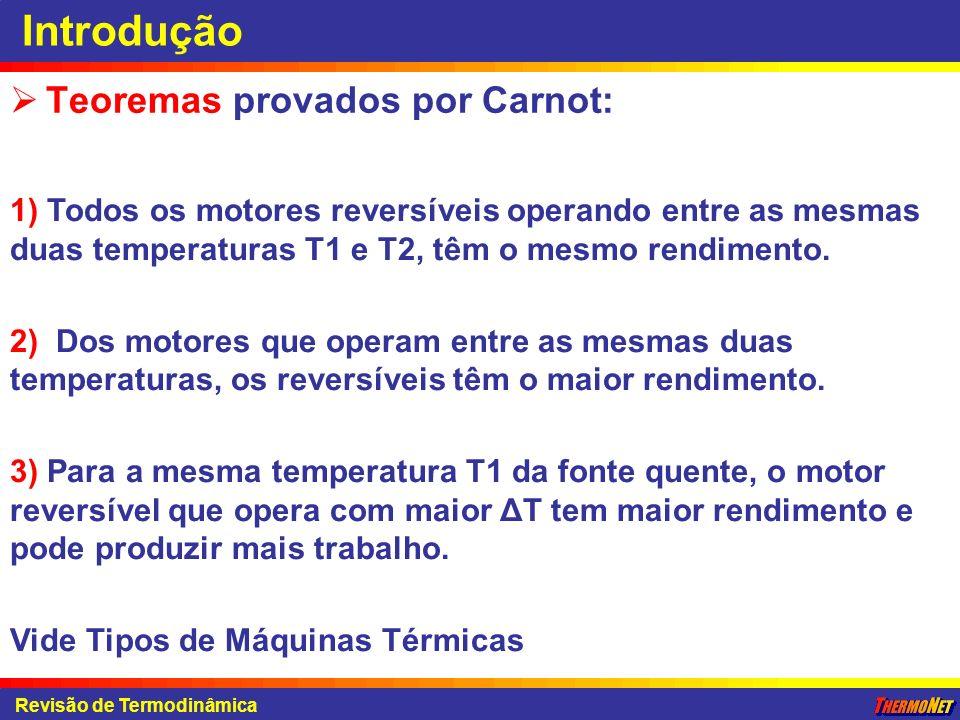 Introdução Teoremas provados por Carnot: Revisão de Termodinâmica 1) Todos os motores reversíveis operando entre as mesmas duas temperaturas T1 e T2,