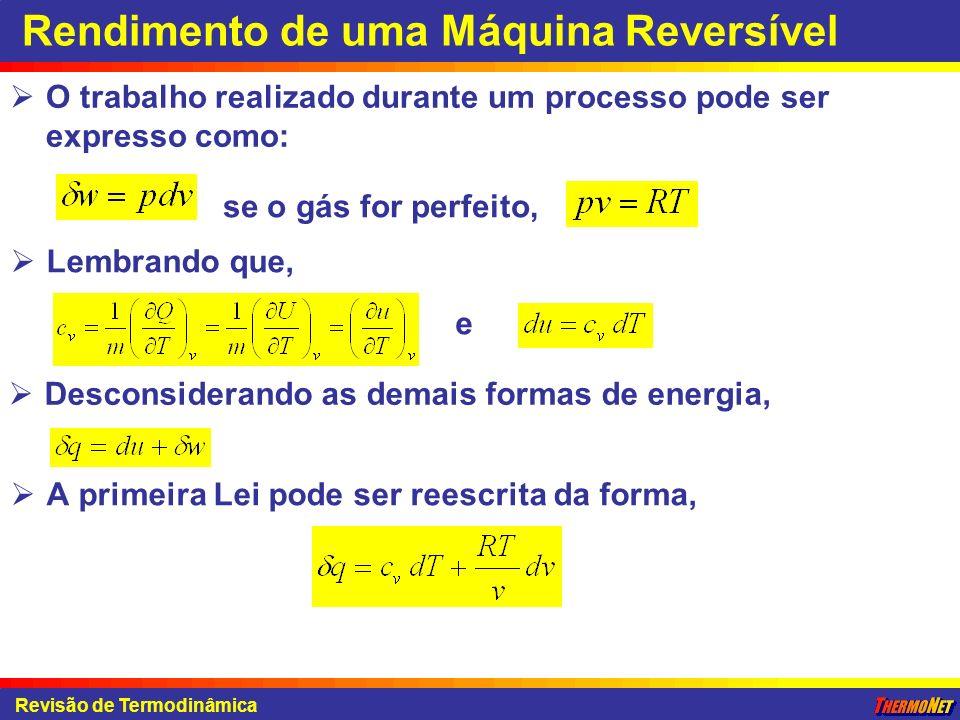 Revisão de Termodinâmica Rendimento de uma Máquina Reversível O trabalho realizado durante um processo pode ser expresso como: se o gás for perfeito,