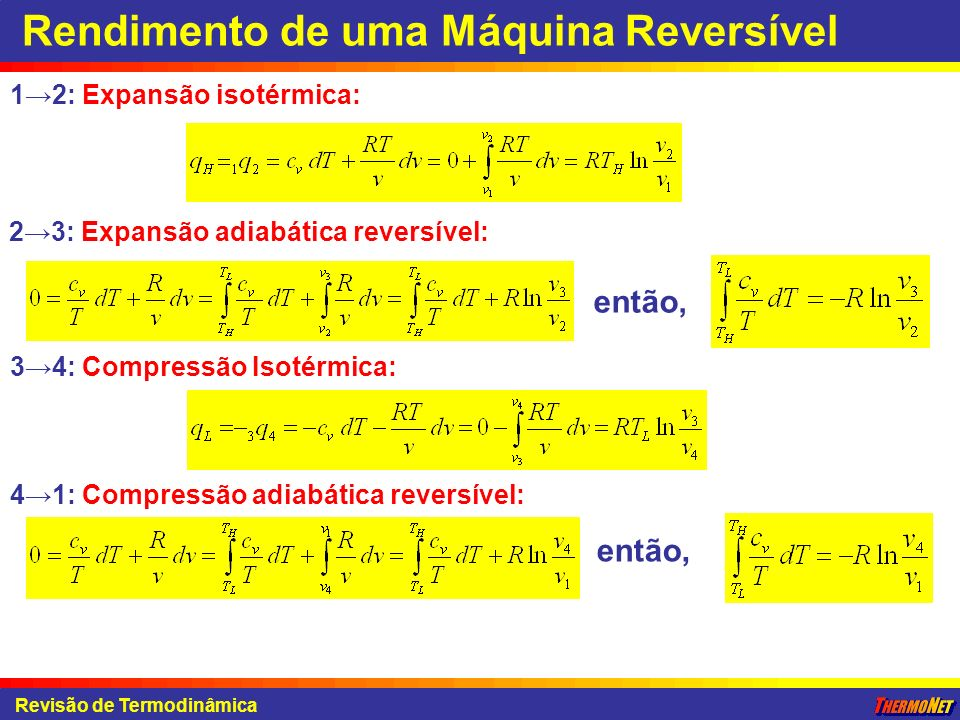 Revisão de Termodinâmica Rendimento de uma Máquina Reversível 1 2: Expansão isotérmica: 2 3: Expansão adiabática reversível: então, 3 4: Compressão Is
