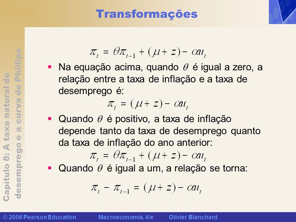 Capítulo 8: A taxa natural de desemprego e a curva de Phillips © 2006 Pearson Education Macroeconomia, 4/e Olivier Blanchard Transformações Na equação