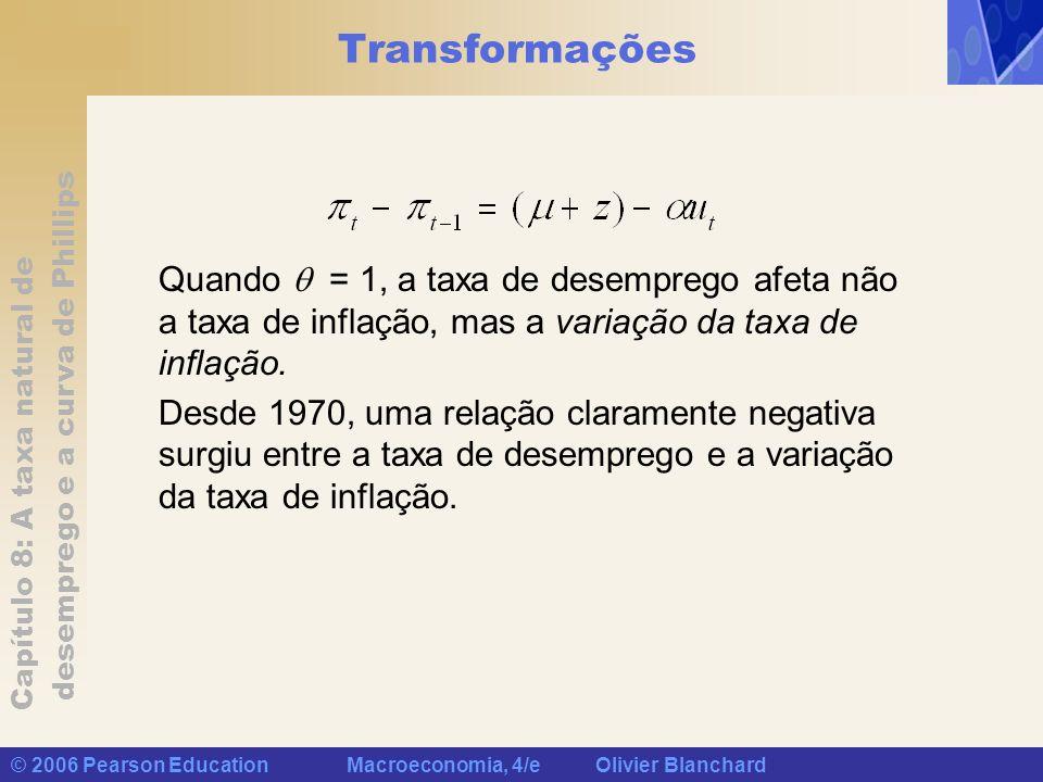 Capítulo 8: A taxa natural de desemprego e a curva de Phillips © 2006 Pearson Education Macroeconomia, 4/e Olivier Blanchard Transformações Quando = 1