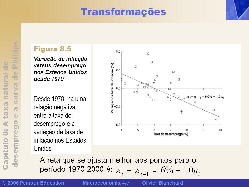 Capítulo 8: A taxa natural de desemprego e a curva de Phillips © 2006 Pearson Education Macroeconomia, 4/e Olivier Blanchard Transformações A curva original de Phillips é: A curva modificada de Phillips, ou curva de Phillips aumentada pelas expectativas, ou ainda curva de Phillips aceleracionista, é: