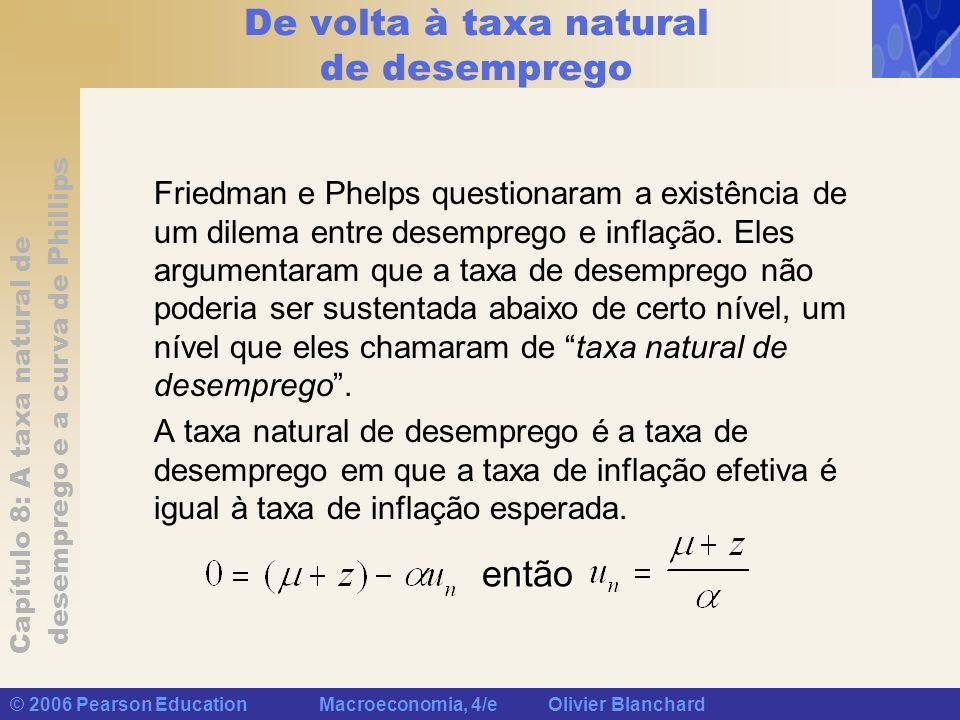 Capítulo 8: A taxa natural de desemprego e a curva de Phillips © 2006 Pearson Education Macroeconomia, 4/e Olivier Blanchard De volta à taxa natural d