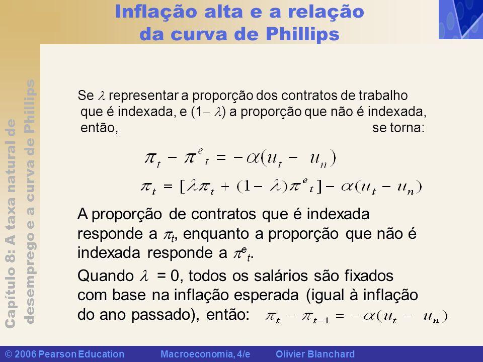 Capítulo 8: A taxa natural de desemprego e a curva de Phillips © 2006 Pearson Education Macroeconomia, 4/e Olivier Blanchard Inflação alta e a relação