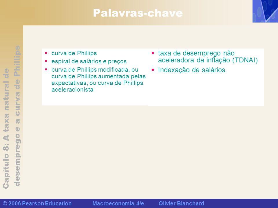 Capítulo 8: A taxa natural de desemprego e a curva de Phillips © 2006 Pearson Education Macroeconomia, 4/e Olivier Blanchard Palavras-chave curva de P