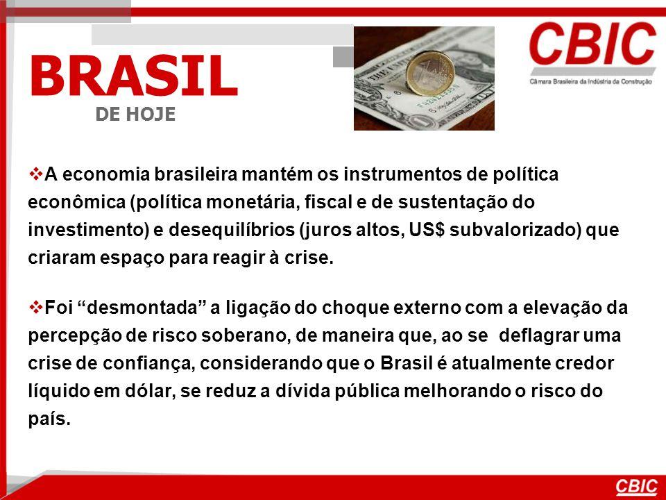 BRASIL DE HOJE A economia brasileira mantém os instrumentos de política econômica (política monetária, fiscal e de sustentação do investimento) e desequilíbrios (juros altos, US$ subvalorizado) que criaram espaço para reagir à crise.