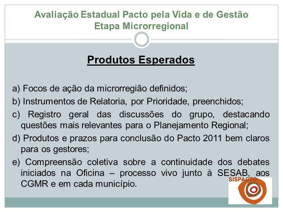 Produtos Esperados a) Focos de ação da microrregião definidos; b) Instrumentos de Relatoria, por Prioridade, preenchidos; c) Registro geral das discus