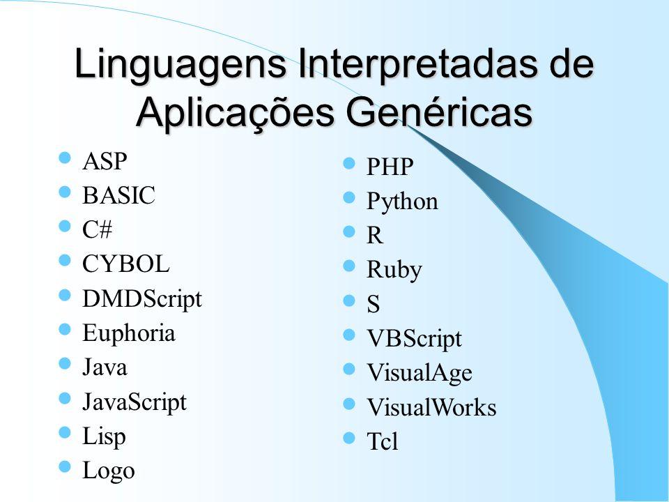 Linguagens Interpretadas de Aplicações Genéricas ASP BASIC C# CYBOL DMDScript Euphoria Java JavaScript Lisp Logo PHP Python R Ruby S VBScript VisualAg