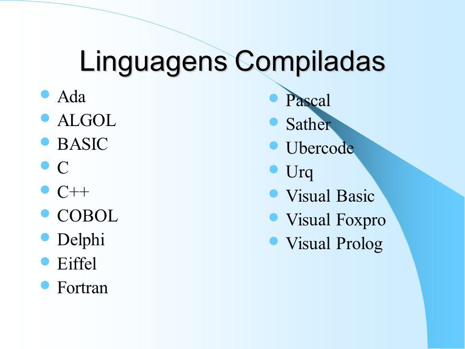 Linguagens Compiladas Ada ALGOL BASIC C C++ COBOL Delphi Eiffel Fortran Pascal Sather Ubercode Urq Visual Basic Visual Foxpro Visual Prolog