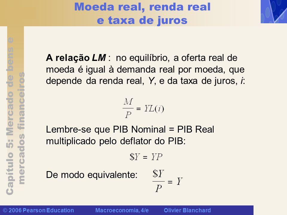 Capítulo 5: Mercado de bens e mercados financeiros © 2006 Pearson Education Macroeconomia, 4/e Olivier Blanchard Moeda real, renda real e taxa de juro