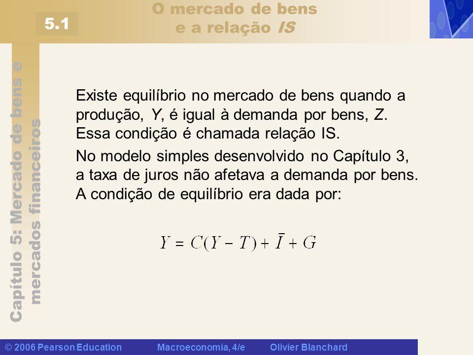 Capítulo 5: Mercado de bens e mercados financeiros © 2006 Pearson Education Macroeconomia, 4/e Olivier Blanchard Investimento, vendas e taxa de juros Neste capítulo, captamos o efeito de dois fatores que afetam o investimento: Nível de vendas (+) Taxa de juros (-)