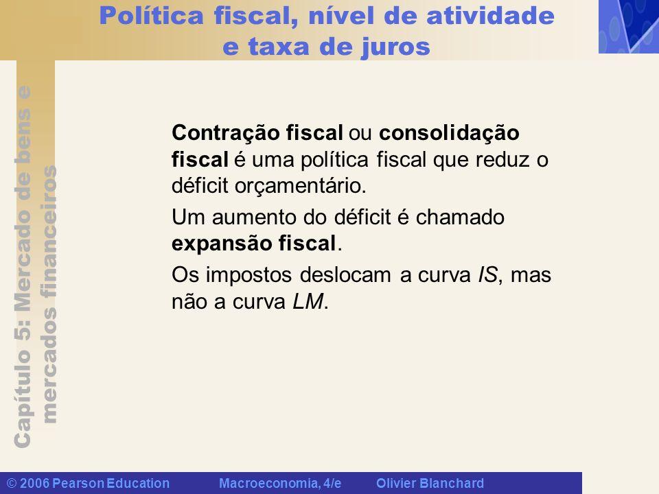Capítulo 5: Mercado de bens e mercados financeiros © 2006 Pearson Education Macroeconomia, 4/e Olivier Blanchard Política fiscal, nível de atividade e