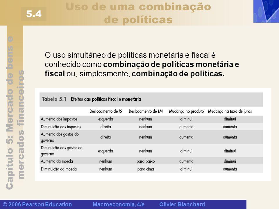 Capítulo 5: Mercado de bens e mercados financeiros © 2006 Pearson Education Macroeconomia, 4/e Olivier Blanchard Uso de uma combinação de políticas O