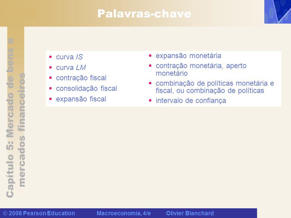 Capítulo 5: Mercado de bens e mercados financeiros © 2006 Pearson Education Macroeconomia, 4/e Olivier Blanchard Palavras-chave curva IS curva LM cont