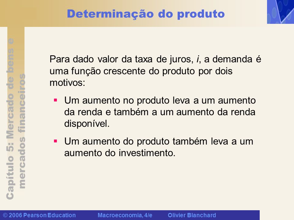 Capítulo 5: Mercado de bens e mercados financeiros © 2006 Pearson Education Macroeconomia, 4/e Olivier Blanchard Determinação do produto A demanda por bens é uma função crescente do produto.