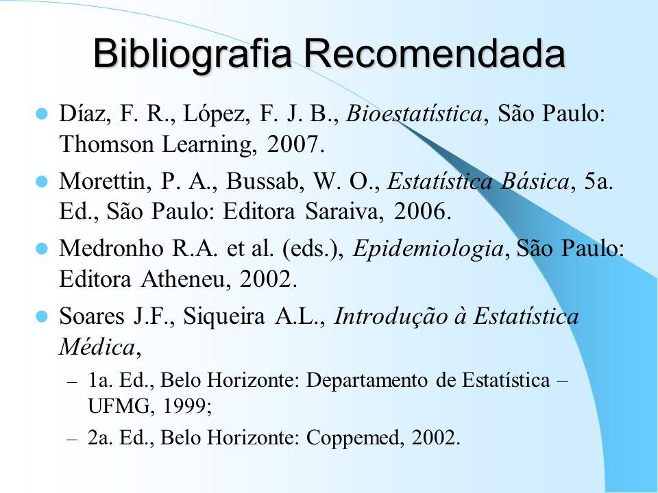 Bibliografia Recomendada Díaz, F. R., López, F. J. B., Bioestatística, São Paulo: Thomson Learning, 2007. Morettin, P. A., Bussab, W. O., Estatística