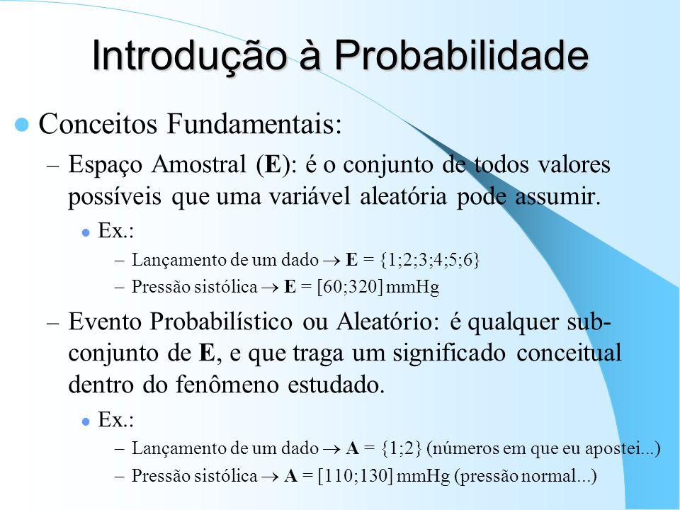 Introdução à Probabilidade Conceitos Fundamentais: – Espaço Amostral (E): é o conjunto de todos valores possíveis que uma variável aleatória pode assu