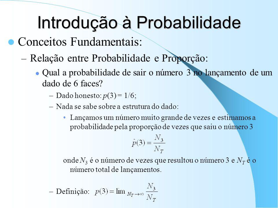 Introdução à Probabilidade Conceitos Fundamentais: – Relação entre Probabilidade e Proporção: Qual a probabilidade de sair o número 3 no lançamento de um dado de 6 faces.
