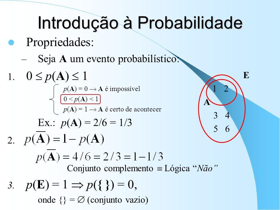 Introdução à Probabilidade Propriedades: – Seja A um evento probabilístico: 1. 0 p(A) 1 p(A) = 0 A é impossível 0 < p(A) < 1 p(A) = 1 A é certo de aco