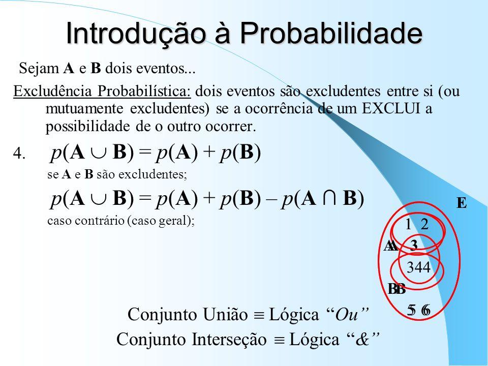 E 1 2 A 3 4 B 5 6 Sejam A e B dois eventos... Excludência Probabilística: dois eventos são excludentes entre si (ou mutuamente excludentes) se a ocorr
