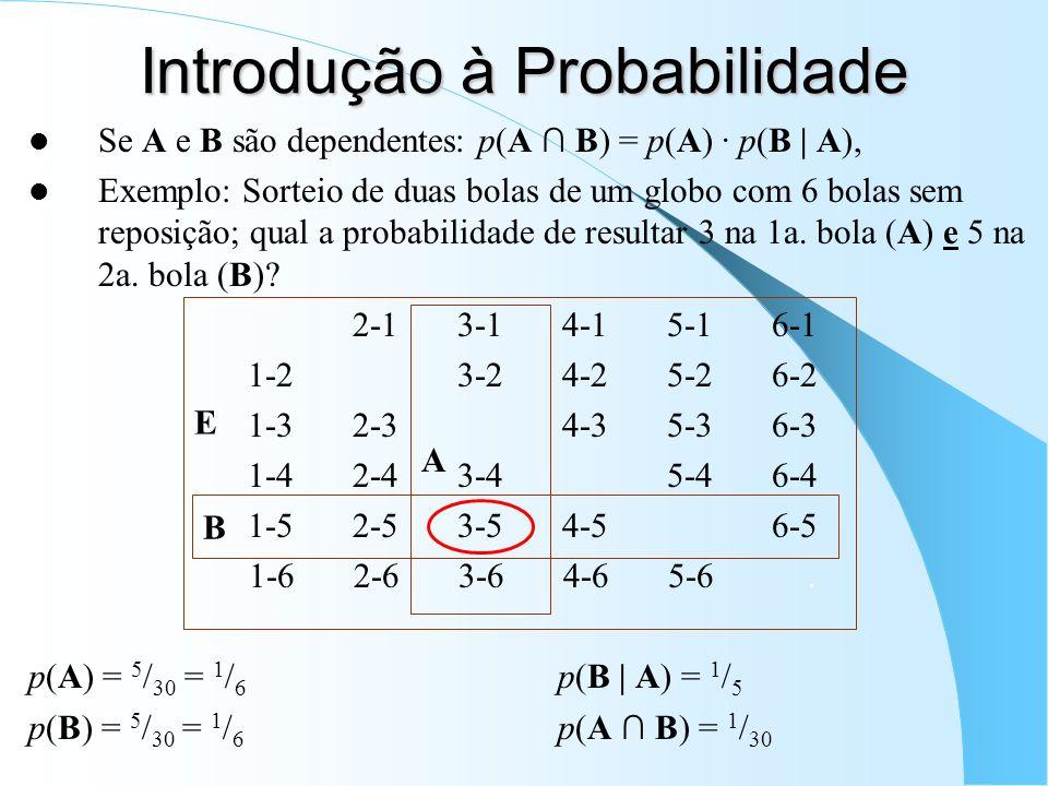Introdução à Probabilidade Se A e B são dependentes: p(A B) = p(A) · p(B | A), Exemplo: Sorteio de duas bolas de um globo com 6 bolas sem reposição; qual a probabilidade de resultar 3 na 1a.