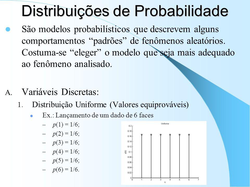 Distribuições de Probabilidade São modelos probabilísticos que descrevem alguns comportamentos padrões de fenômenos aleatórios. Costuma-se eleger o mo