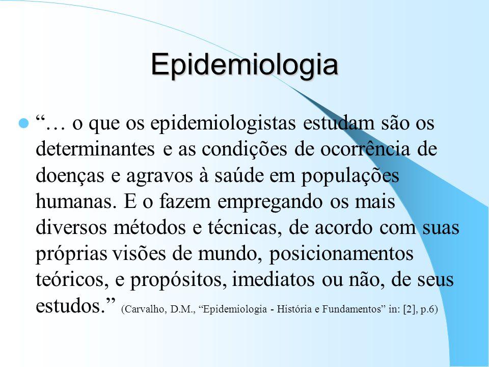 Epidemiologia … o que os epidemiologistas estudam são os determinantes e as condições de ocorrência de doenças e agravos à saúde em populações humanas.