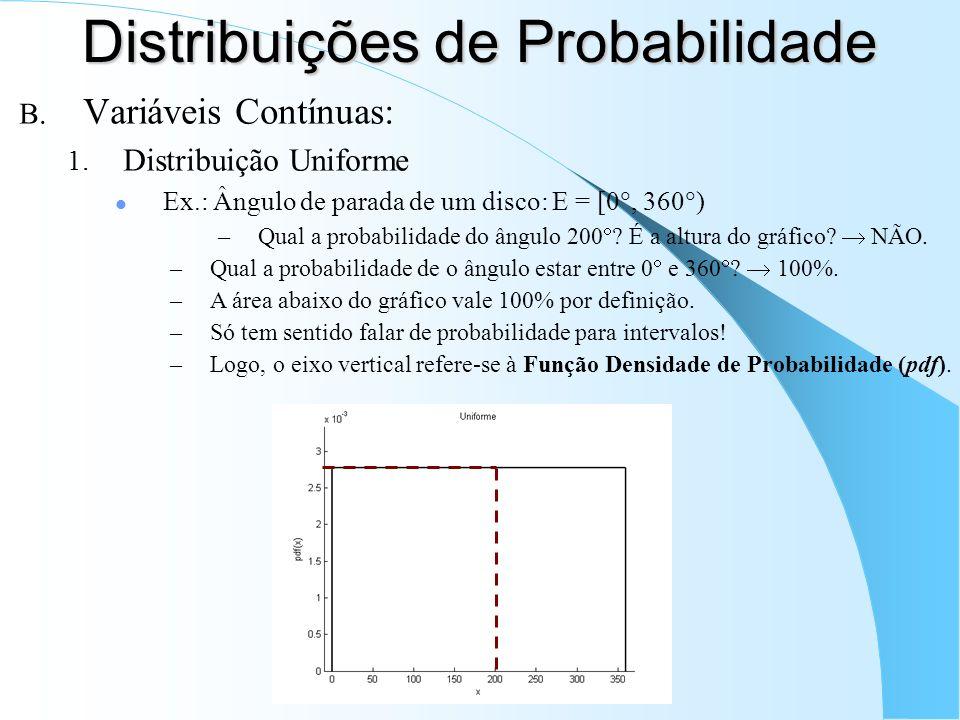 Distribuições de Probabilidade B. Variáveis Contínuas: 1. Distribuição Uniforme Ex.: Ângulo de parada de um disco: E = [0, 360 ) –Qual a probabilidade