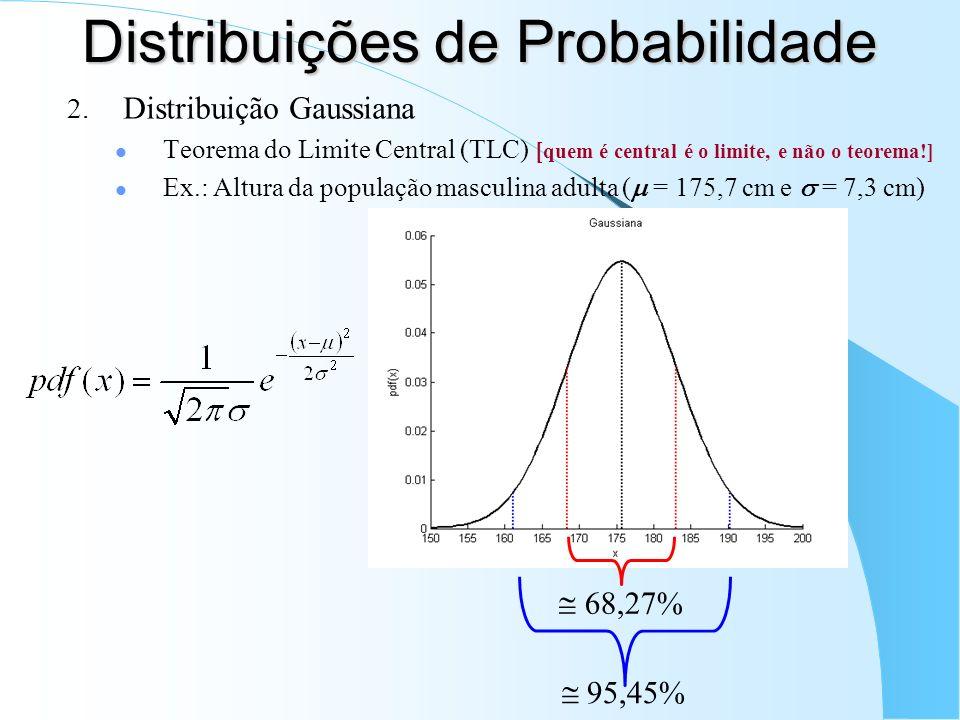 95,45% Distribuições de Probabilidade 2. Distribuição Gaussiana Teorema do Limite Central (TLC) [ quem é central é o limite, e não o teorema!] Ex.: Al