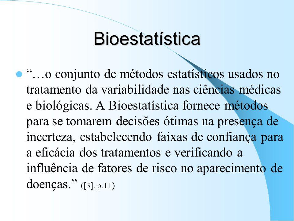 Bioestatística …o conjunto de métodos estatísticos usados no tratamento da variabilidade nas ciências médicas e biológicas. A Bioestatística fornece m