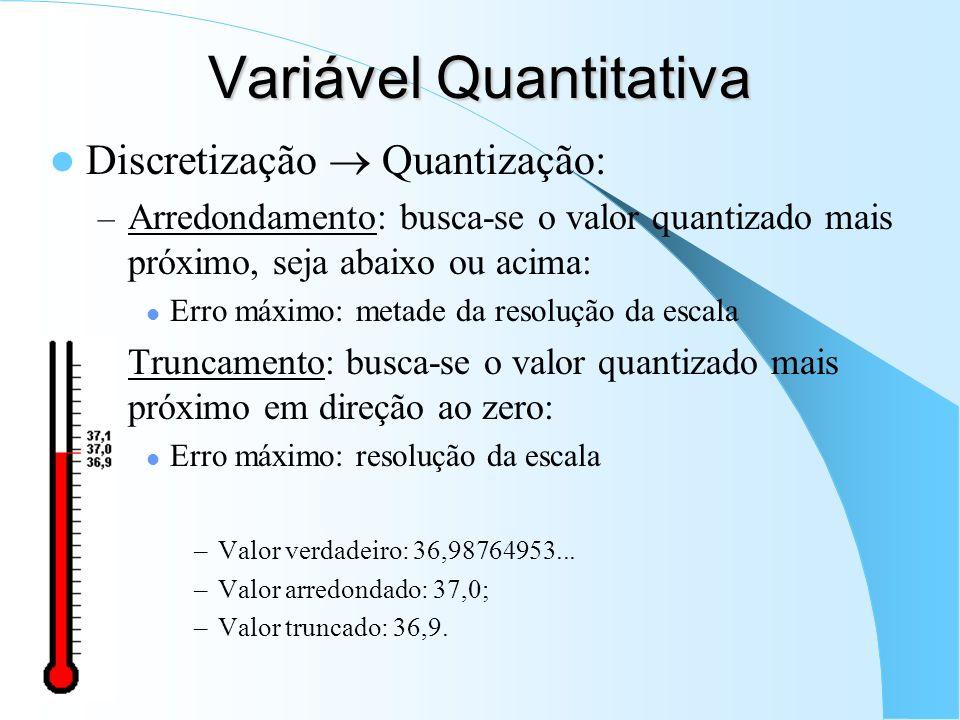 Variável Quantitativa Discretização Quantização: – Arredondamento: busca-se o valor quantizado mais próximo, seja abaixo ou acima: Erro máximo: metade da resolução da escala – Truncamento: busca-se o valor quantizado mais próximo em direção ao zero: Erro máximo: resolução da escala –Valor verdadeiro: 36,98764953...