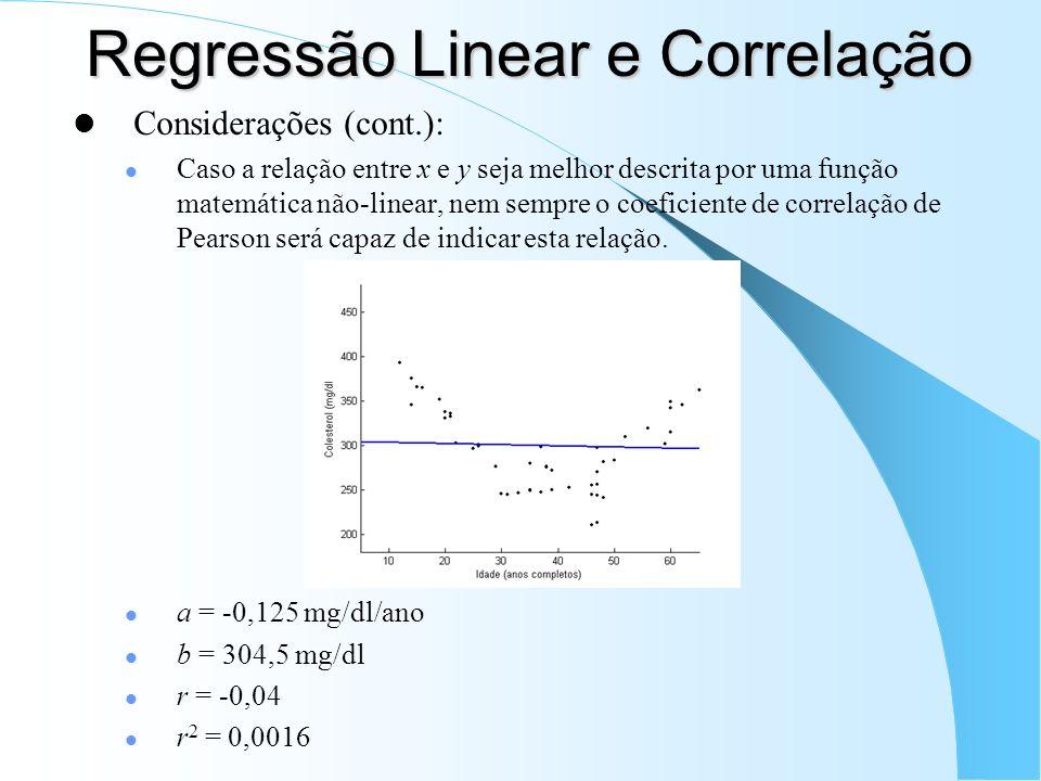 Regressão Linear e Correlação Considerações (cont.): Caso a relação entre x e y seja melhor descrita por uma função matemática não-linear, nem sempre o coeficiente de correlação de Pearson será capaz de indicar esta relação.