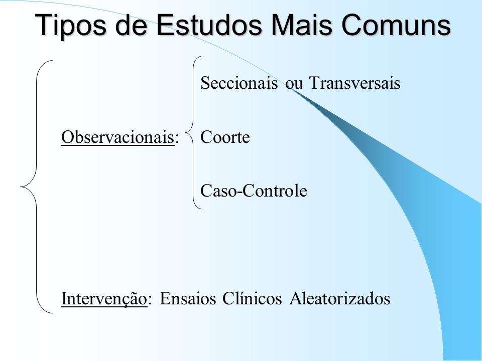 Tipos de Estudos Mais Comuns Seccionais ou Transversais Observacionais: Coorte Caso-Controle Intervenção: Ensaios Clínicos Aleatorizados