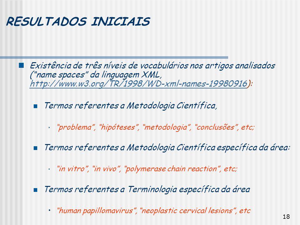 18 RESULTADOS INICIAIS Existência de três níveis de vocabulários nos artigos analisados (name spaces da linguagem XML, http://www.w3.org/TR/1998/WD-xm