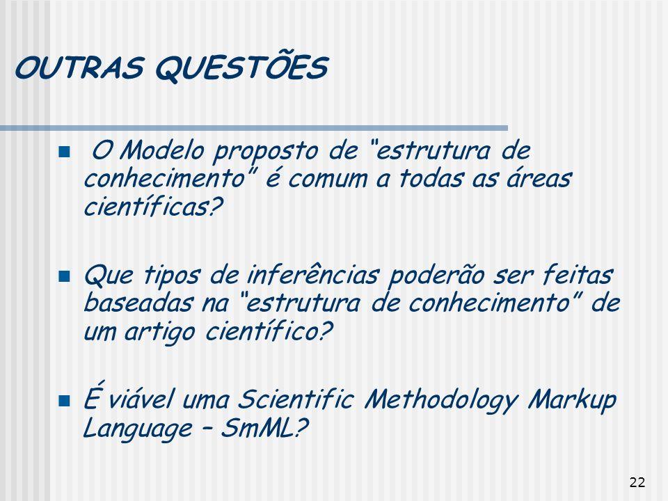 22 OUTRAS QUESTÕES O Modelo proposto de estrutura de conhecimento é comum a todas as áreas científicas? Que tipos de inferências poderão ser feitas ba