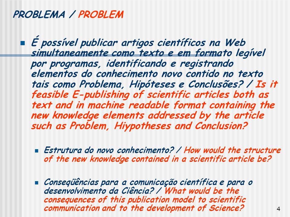 4 É possível publicar artigos científicos na Web simultaneamente como texto e em formato legível por programas, identificando e registrando elementos