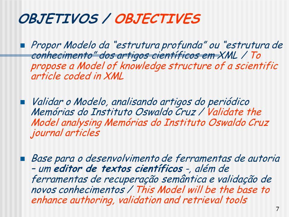 7 OBJETIVOS / OBJECTIVES Propor Modelo da estrutura profunda ou estrutura de conhecimento dos artigos científicos em XML / To propose a Model of knowl