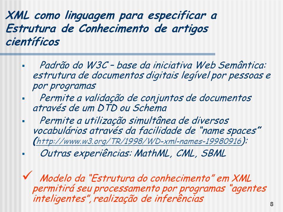 8 Padrão do W3C – base da iniciativa Web Semântica: estrutura de documentos digitais legível por pessoas e por programas Permite a validação de conjun